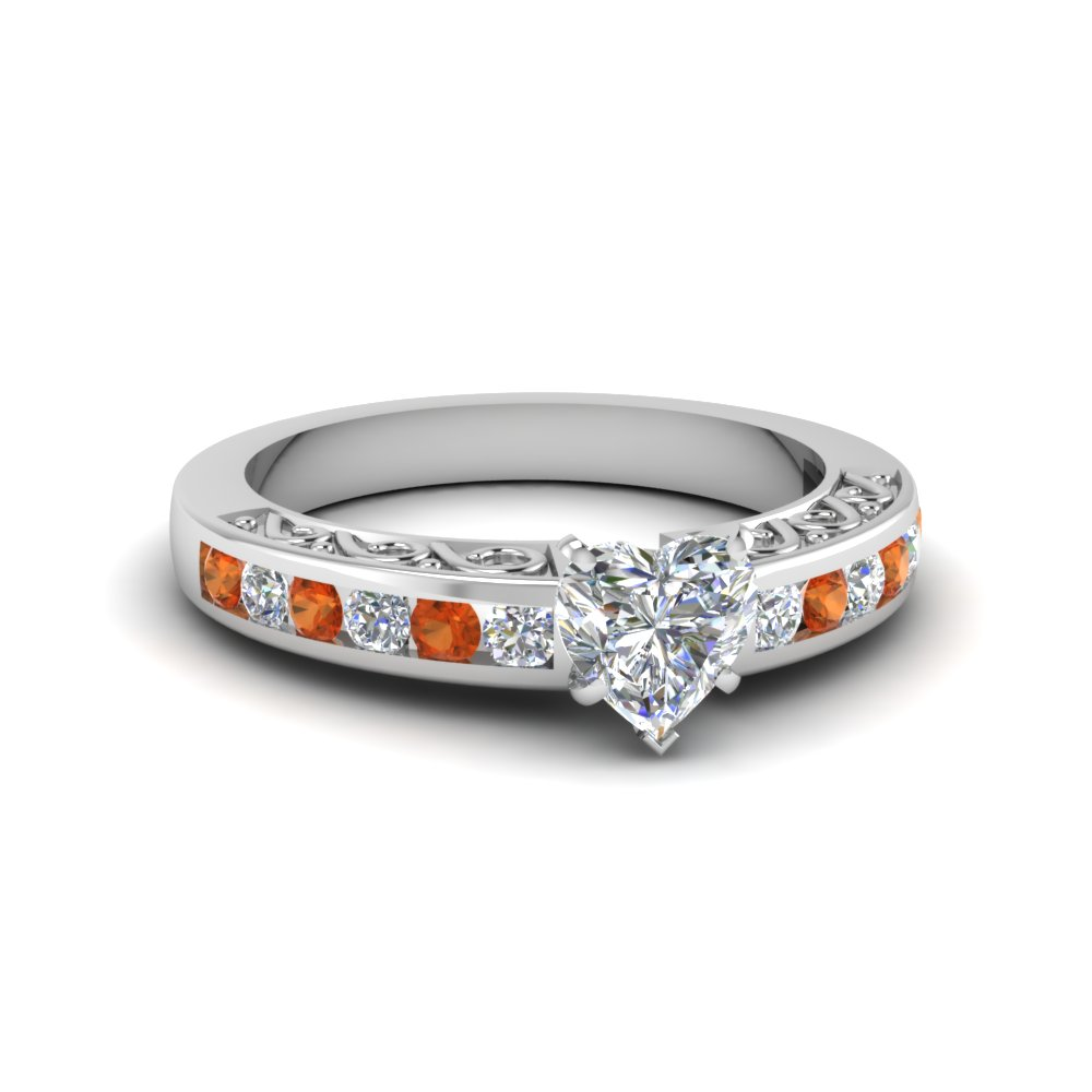 heart shaped channel set diamond vintage engagement ring with orange sapphire in 14K white gold FDENS817HTRGSAOR NL WG