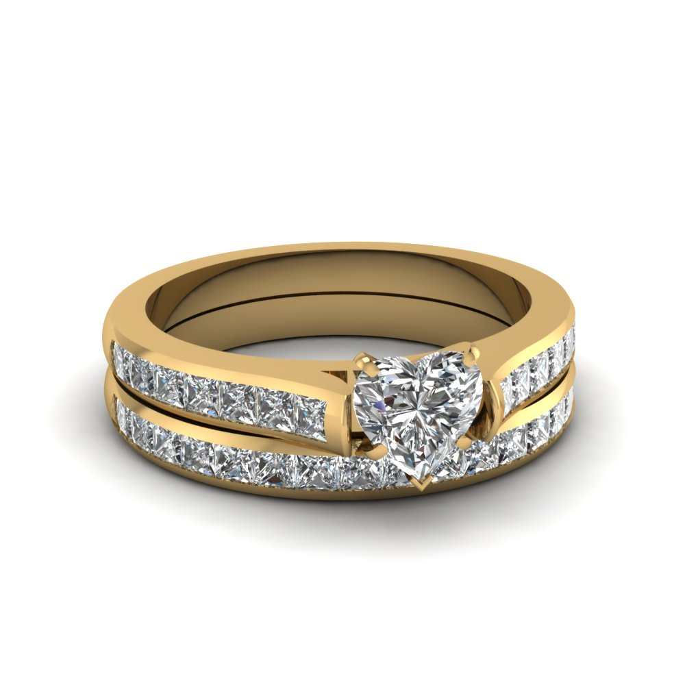 heart shaped channel set diamond wedding ring sets in 14K yellow gold FDENS877HT NL YG 30