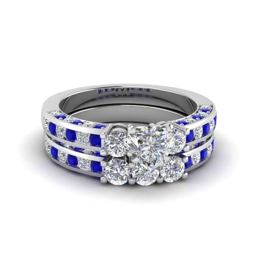 heart shaped channel set trio diamond wedding set with sapphire in 14K white gold FDENS1091HTGSABL NL WG