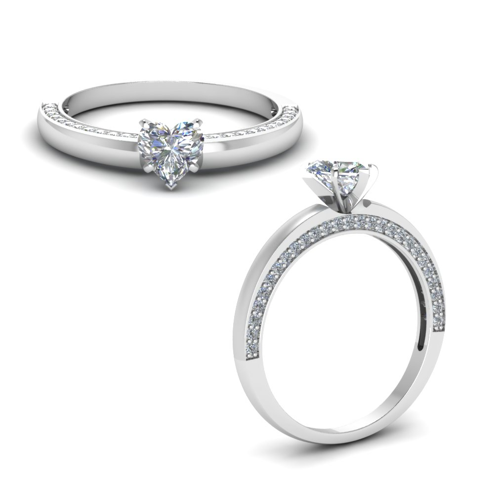 Platinum Pave Side Stone Engagement Ring