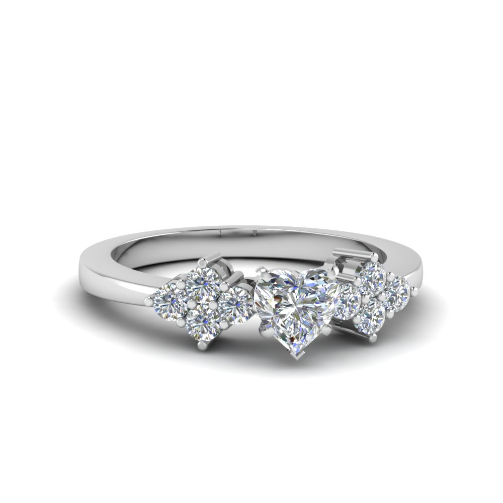 cluster heart shaped diamond engagement ring for women in FDENS3082HTR NL WG