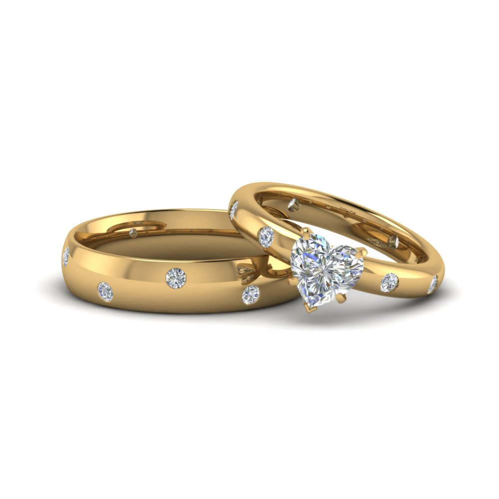 heart shaped couple wedding rings his and hers matching anniversary sets gifts in 14K yellow gold FD8152B NL YG