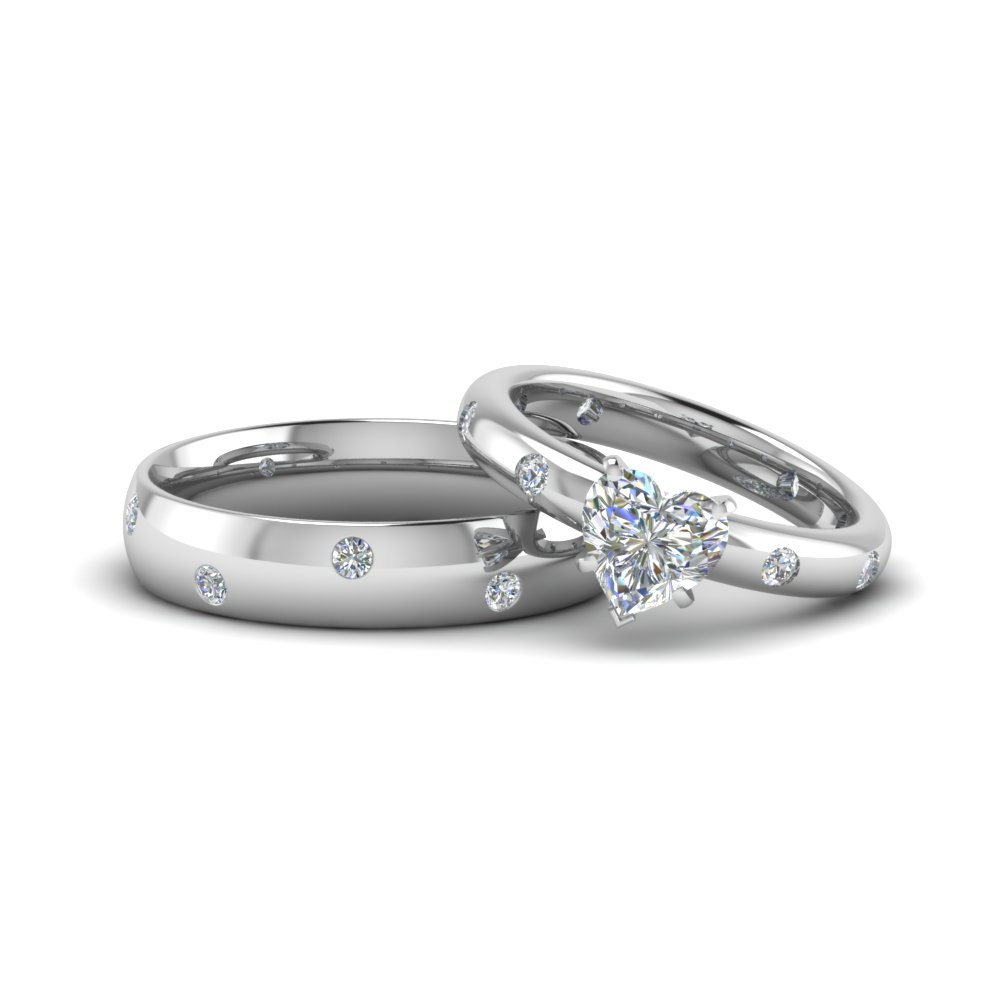Heart shaped couple wedding rings his and hers matching