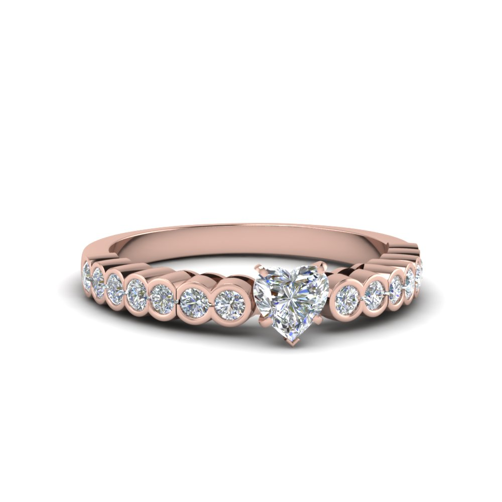 Heart Diamond Bezel Set Wedding Rings