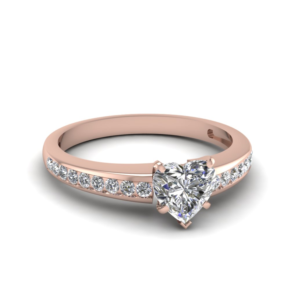 heart shaped delicate channel diamond engagement ring in FDENS3018HTR NL RG