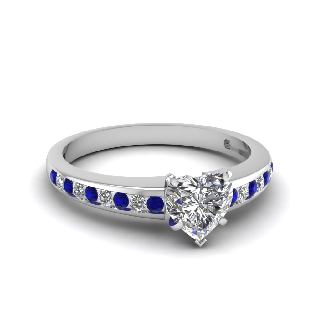 heart shaped delicate channel diamond engagement ring with sapphire in FDENS3018HTRGSABL NL WG