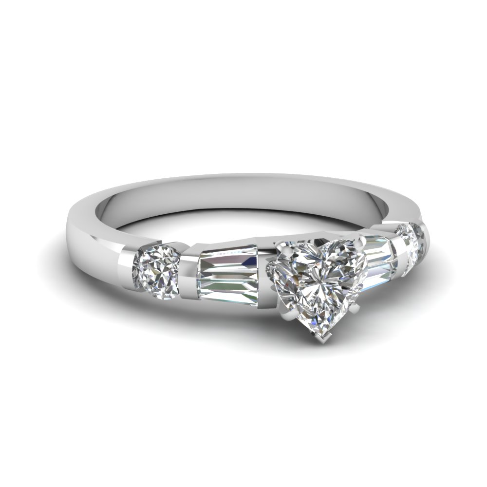 heart shaped diamond bar set baguette engagement ring in FDENS290HTR NL WG