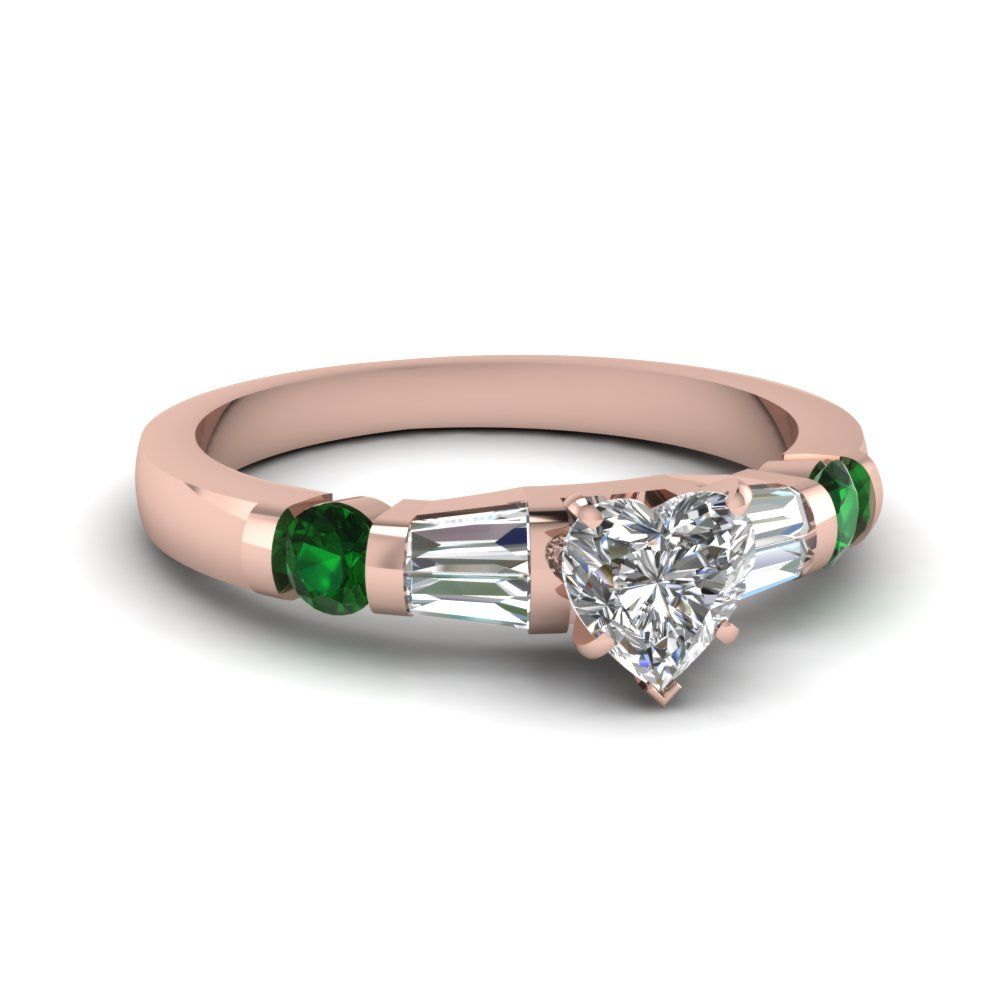 heart shaped diamond bar set baguette engagement ring with emerald in FDENS290HTRGEMGR NL RG