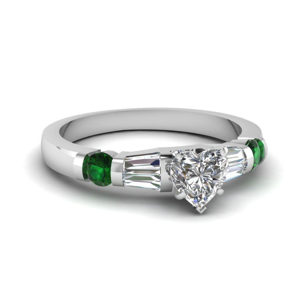heart shaped diamond bar set baguette engagement ring with green emerald in 14K white gold FDENS290HTRGEMGR NL WG