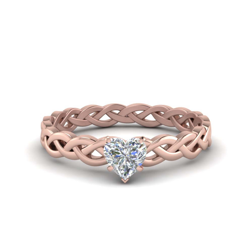 heart shaped braided solitaire engagement ring in FD8681HTR NL RG
