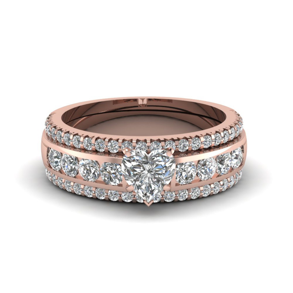 heart diamond bridal trio set in 14k rose gold