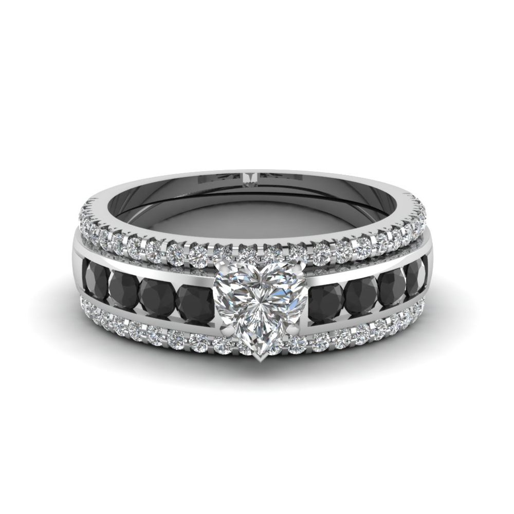 Heart Bridal Trio Set With Black Diamond In Fd8026thtgblackangle1 Nl Wg