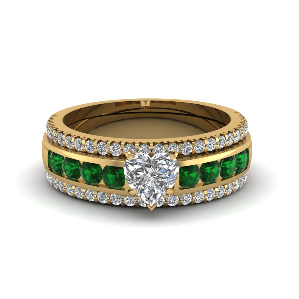 heart diamond bridal trio set with emerald in FD8026THTGEMGRANGLE1 NL YG