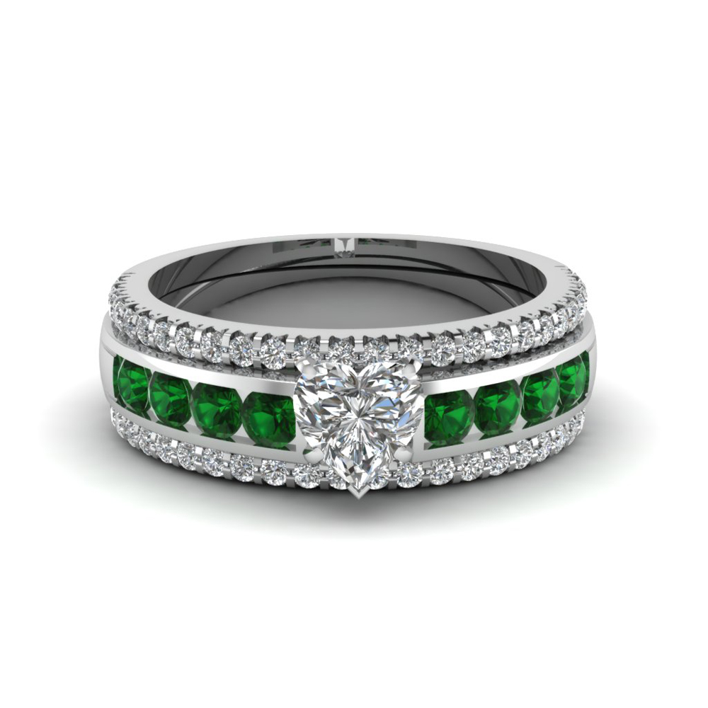 heart diamond bridal trio set with emerald in FD8026THTGEMGRANGLE1 NL WG