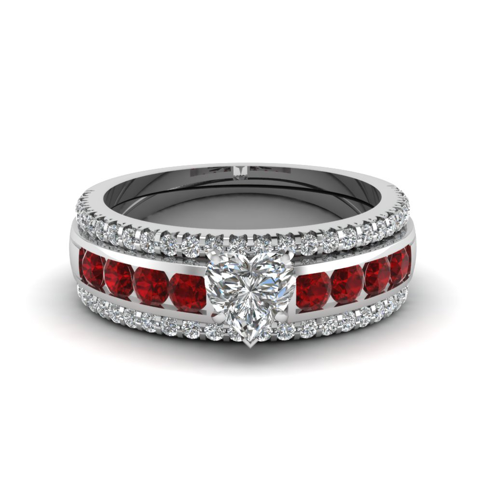 Heart Diamond Bridal Trio Set With Ruby In 14k White Gold