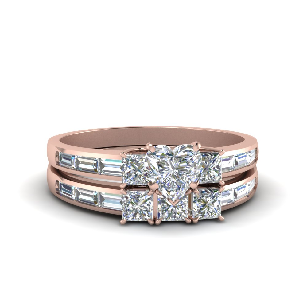 heart shaped channel baguette 3 stone diamond wedding set in 18K rose gold FDENS1021HT NL RG