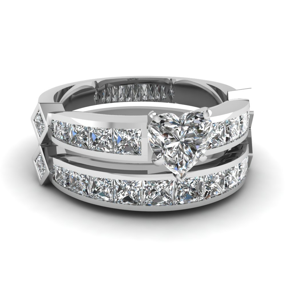 heart shaped diamond channel set princess accent wedding