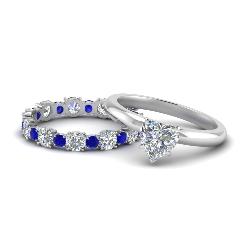 Classic Heart Shaped Diamond Solitaire With Sapphire Eternity Band