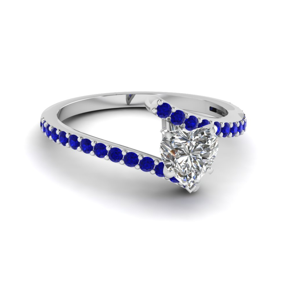 Amazing Blue Sapphire with Heart Diamond Gemstone Engagement Ring