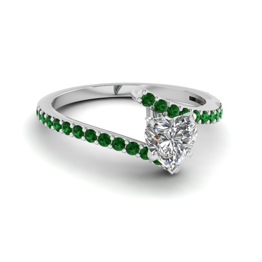 heart shaped diamond colorful engagement ring with green emerald in 14K white gold FDENS3007HTRGEMGR NL WG GS