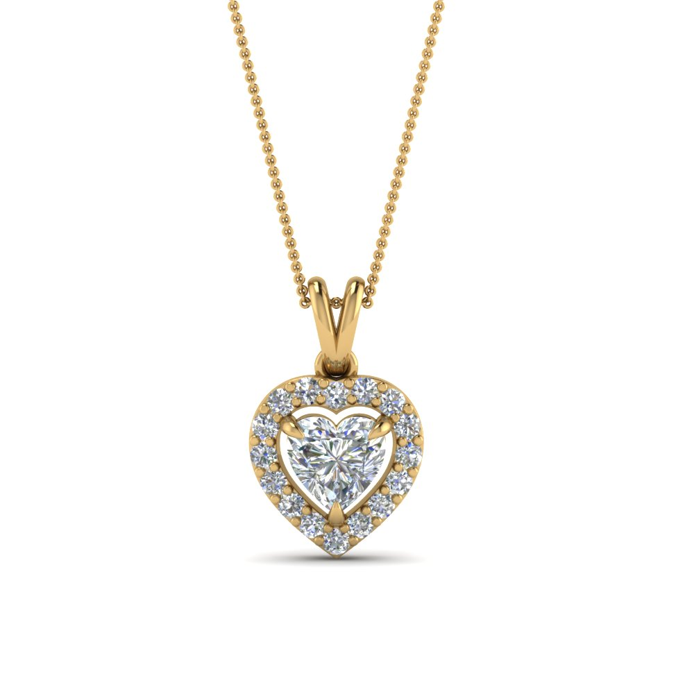 Heart Diamond Pendant With Halo
