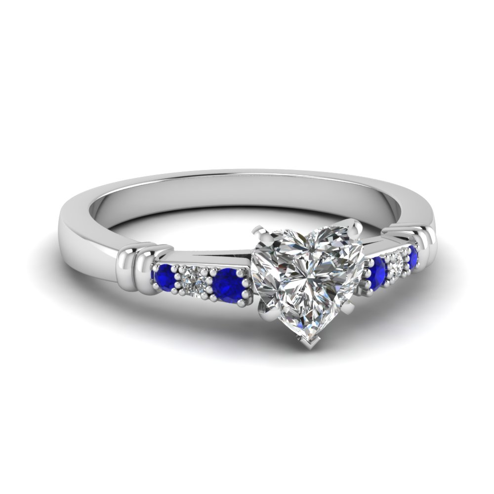 pave bar set heart shaped diamond engagement ring with sapphire in FDENS363HTRGSABL NL WG