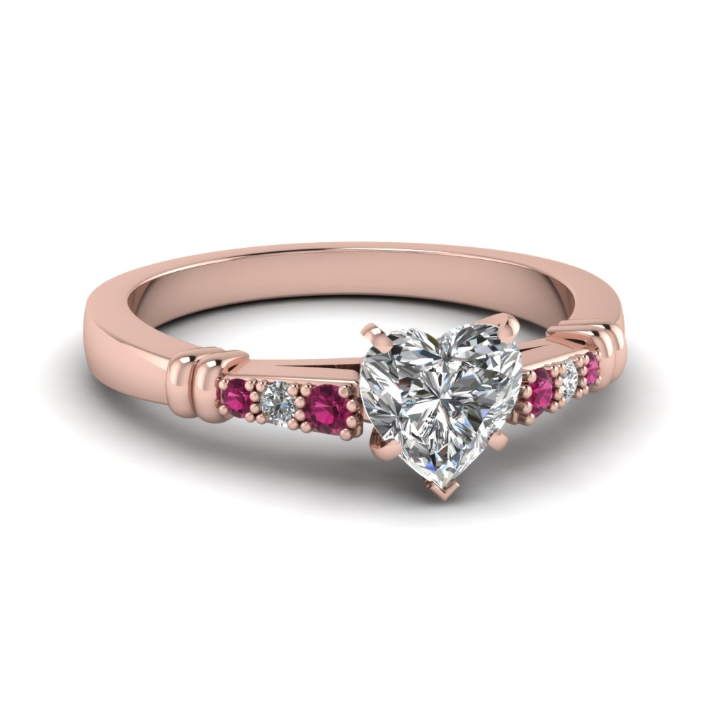 pave bar set heart shaped diamond engagement ring with pink sapphire in FDENS363HTRGSADRPI NL RG