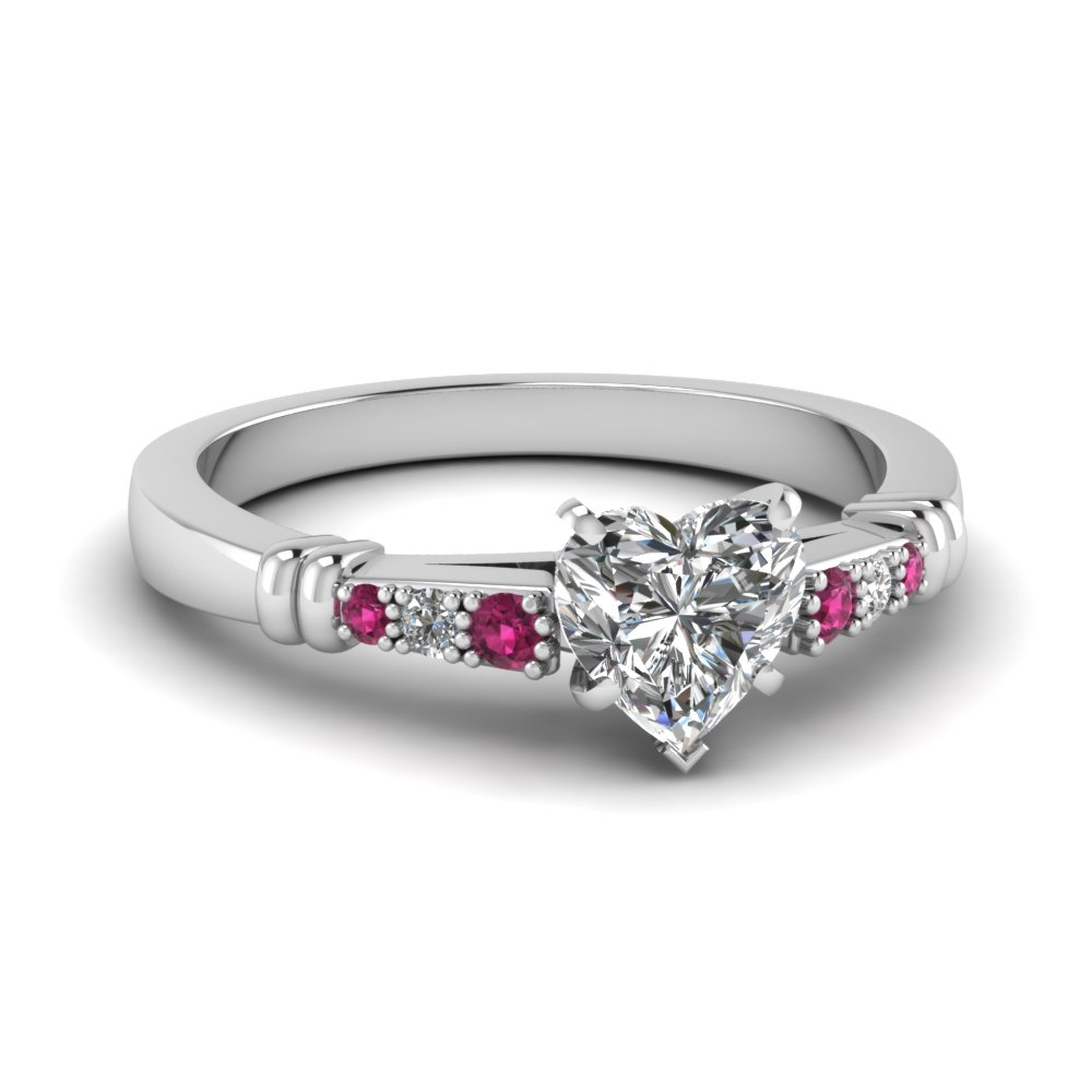 pave bar set heart shaped diamond engagement ring with pink sapphire in FDENS363HTRGSADRPI NL WG