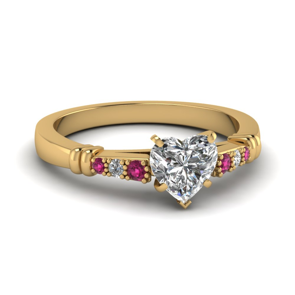 pave bar set heart shaped diamond engagement ring with pink sapphire in FDENS363HTRGSADRPI NL YG