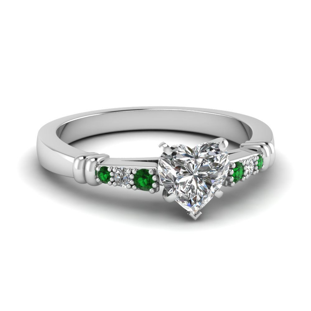 pave bar set heart shaped diamond engagement ring with emerald in FDENS363HTRGEMGR NL WG