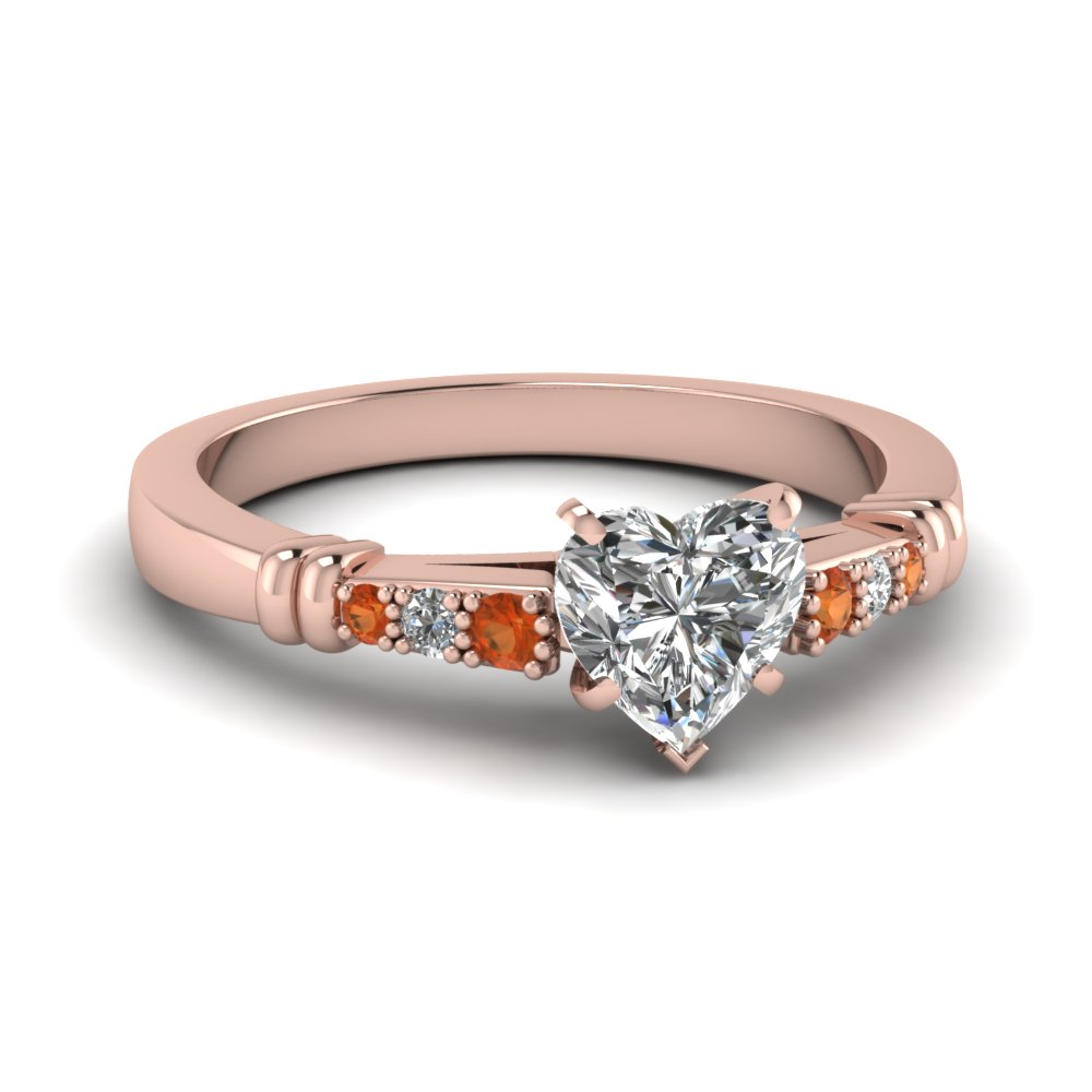 pave bar set heart shaped diamond engagement ring with orange sapphire in FDENS363HTRGSAOR NL RG
