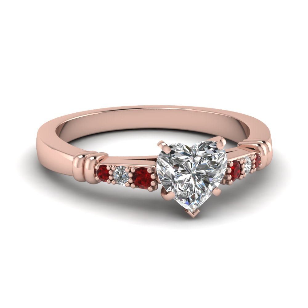 pave bar set heart shaped diamond engagement ring with ruby in FDENS363HTRGRUDR NL RG
