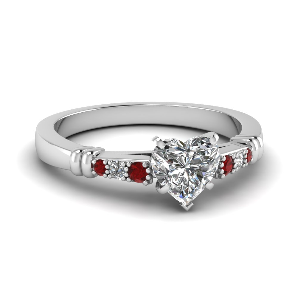 pave bar set heart shaped diamond engagement ring with ruby in FDENS363HTRGRUDR NL WG