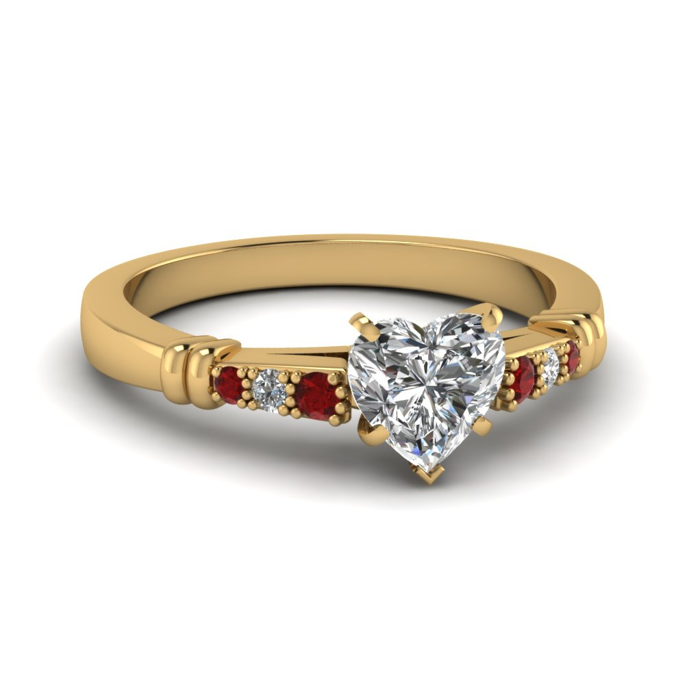pave bar set heart shaped diamond engagement ring with ruby in FDENS363HTRGRUDR NL YG
