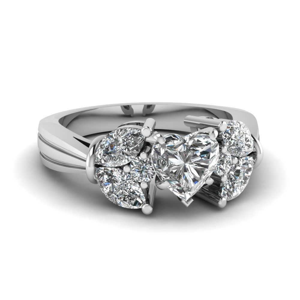 Marquise Petal Diamond Engagement Ring in White Gold