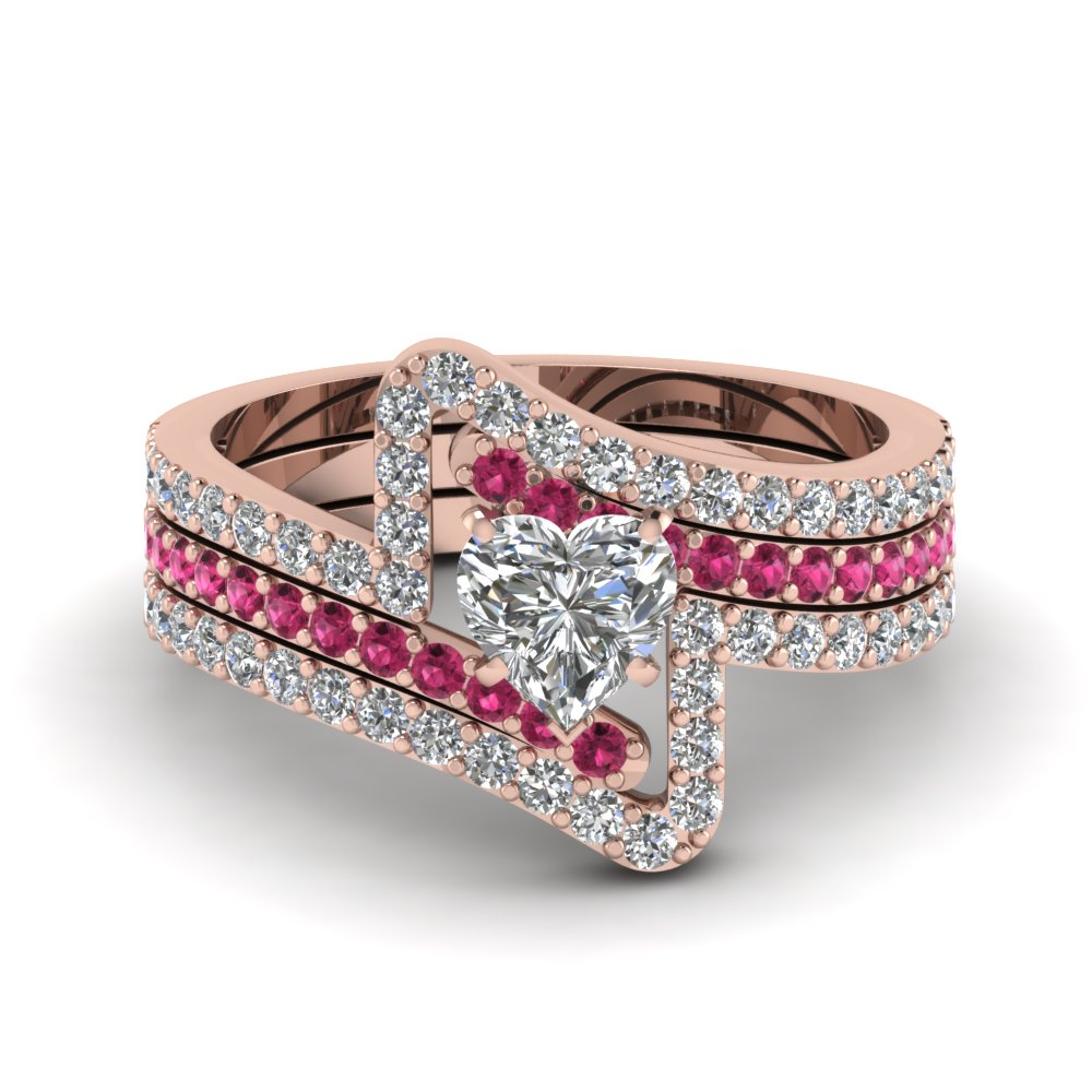 Heart Trio Wedding Ring Sets