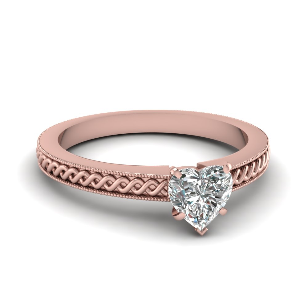 Heart Diamond Milgrain Engagement Rings