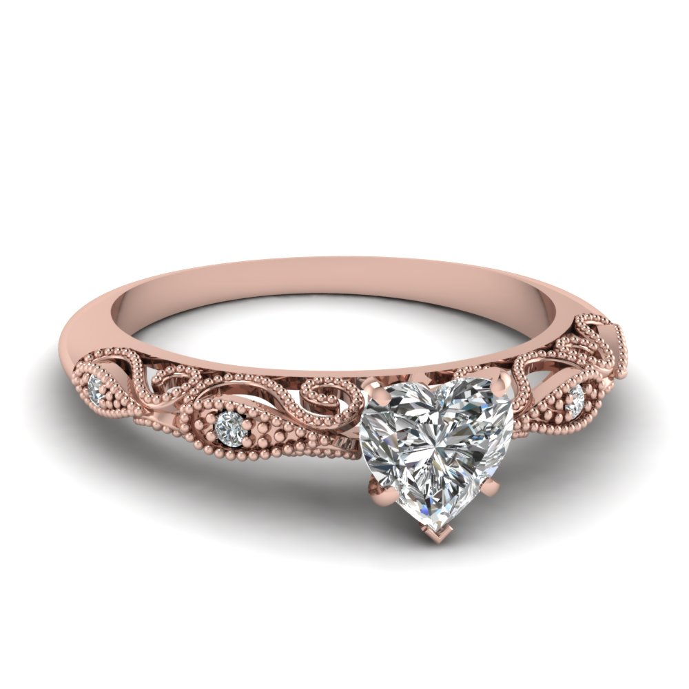 Rose Gold Diamond Milgrain Rings
