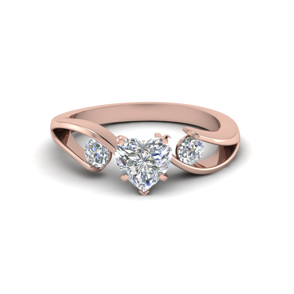 Rose Gold Heart Diamond 3 Stone Rings