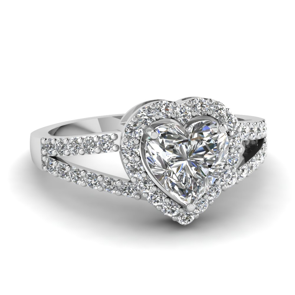 heart shaped diamond engagement ring in 14k white gold. Black Bedroom Furniture Sets. Home Design Ideas