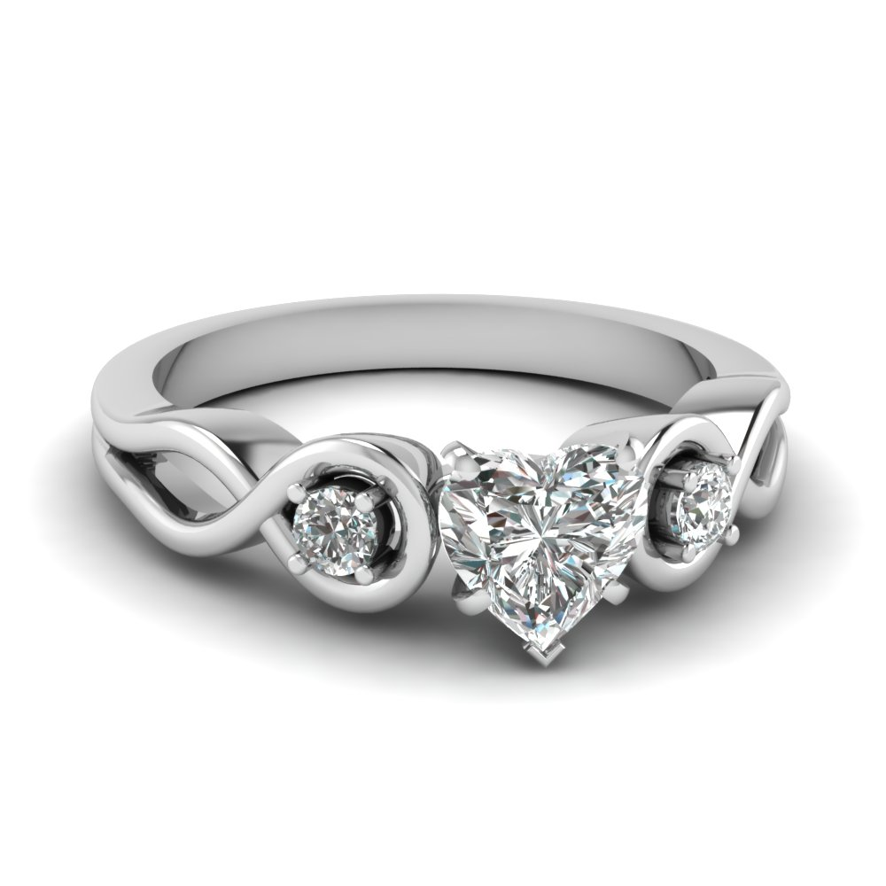Heart Shaped Diamond Engagement Ring In 14K White Gold Fascinating
