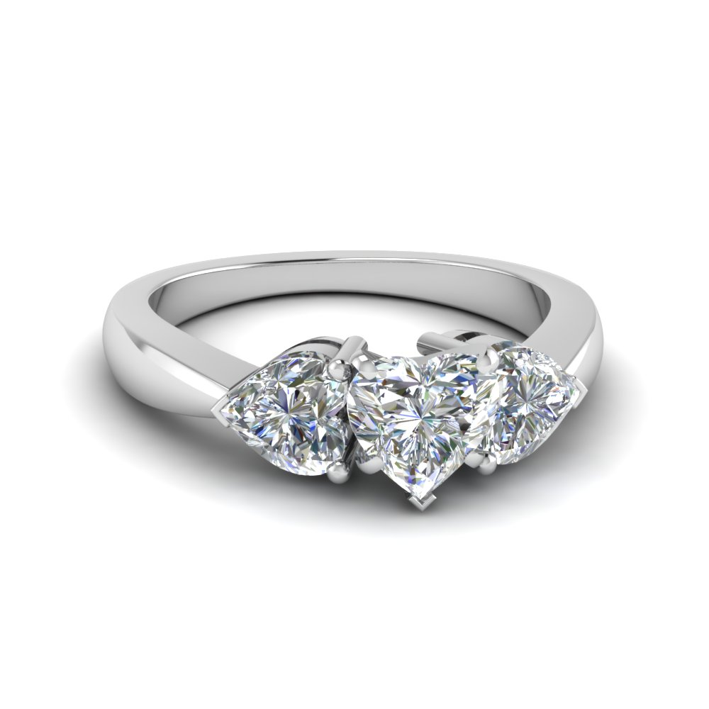 Three Heart Diamond Engagement Ring