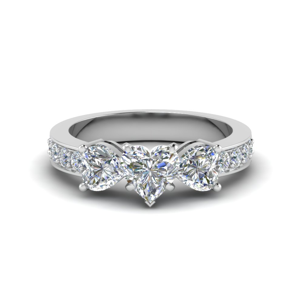 Butterfly 3 Stone Heart Shaped Diamond Ring