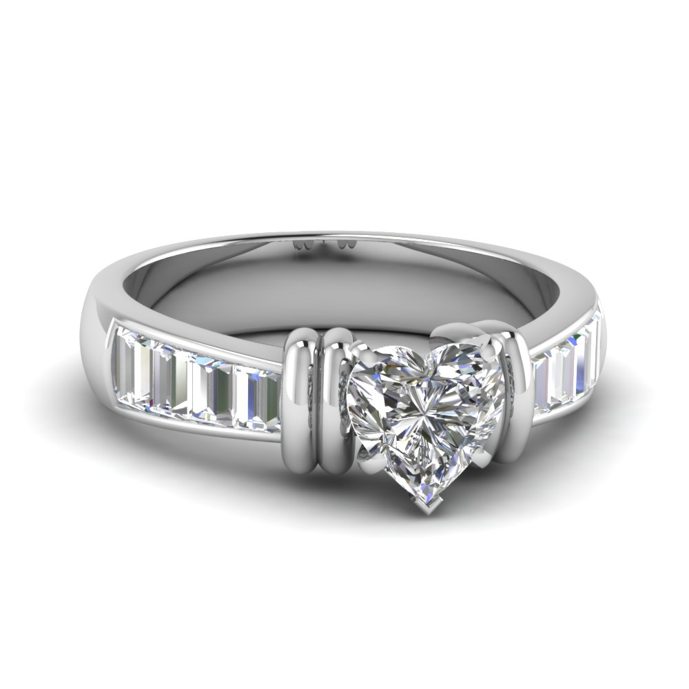 Vertical Baguettes and Heart Diamond Unusual Engagement Ring