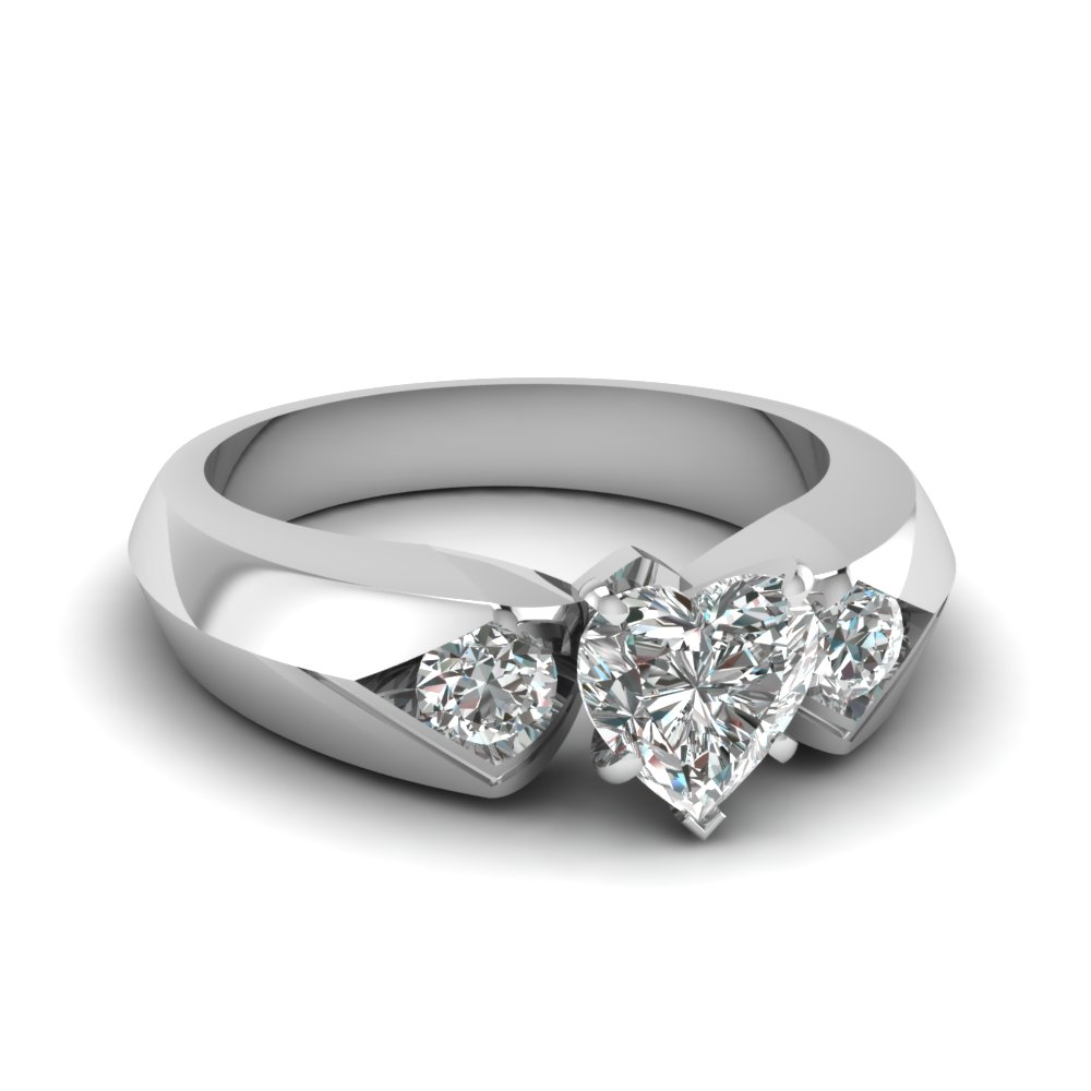 Heart Shaped Knife Edge 3 Stone Anniversary Ring