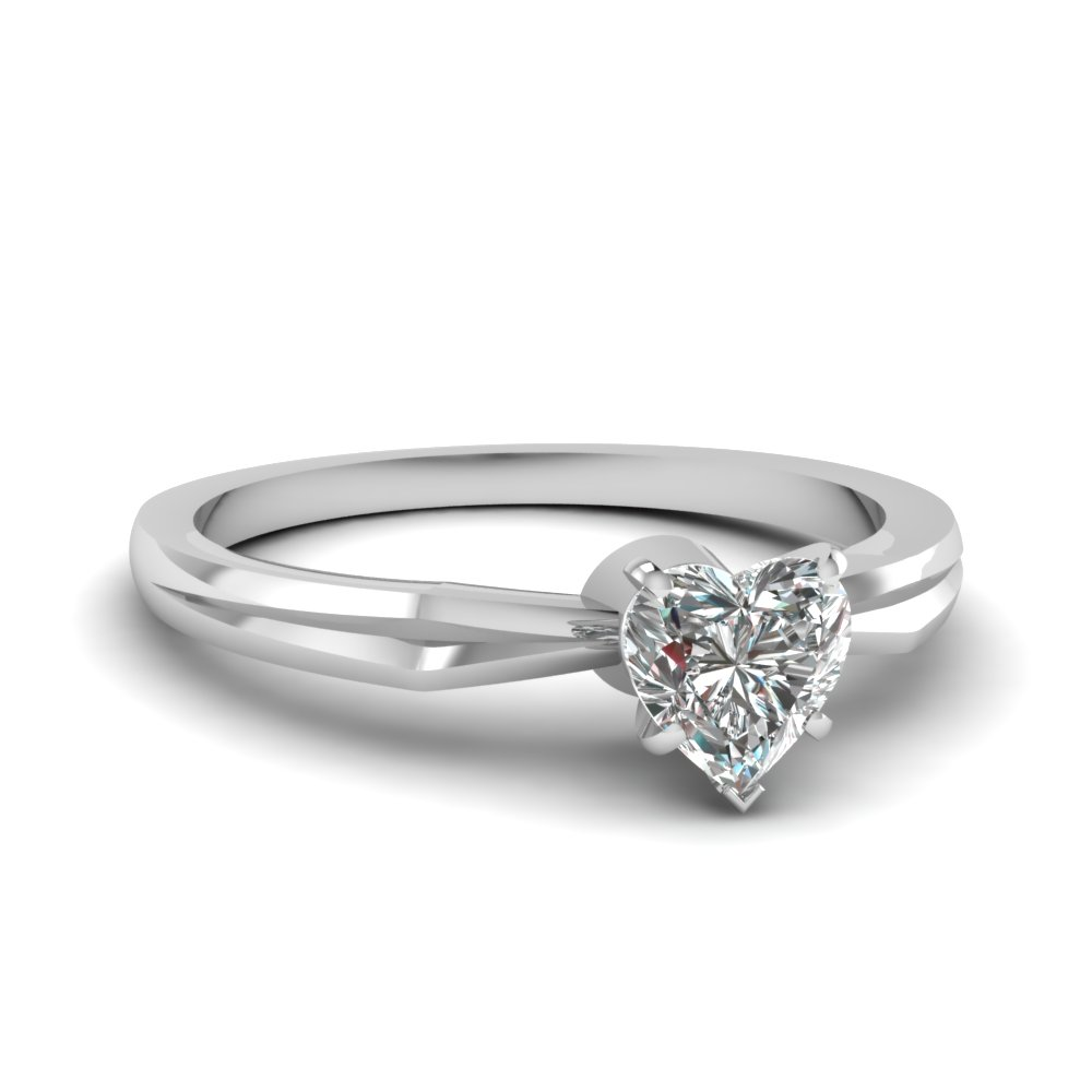 tapered heart shaped diamond solitaire engagement ring in FDENR3757HTR NL WG
