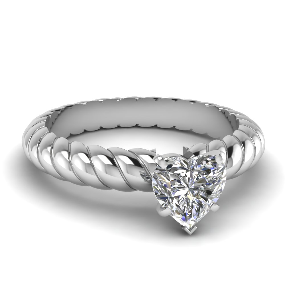 heart shaped rope solitaire diamond engagement ring in FDENR8952HTR NL WG