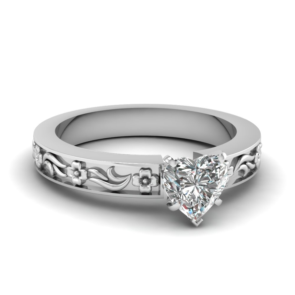 Heart Shaped Diamond Engagement Ring In 14K White Gold