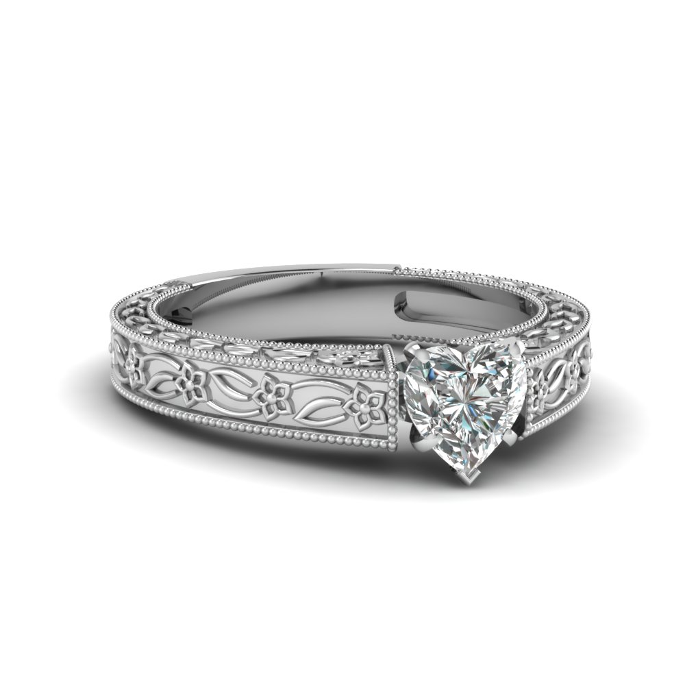 Floral Milgrain Diamond Ring