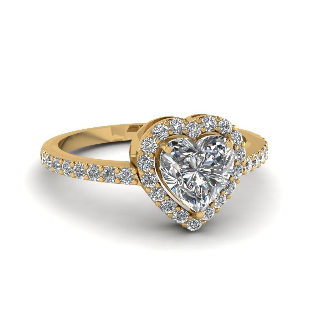 heart shaped halo diamond ring in FD1011HTR NL YG GS